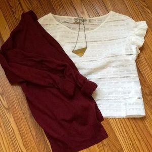 Uniqlo lightweight wool burgundy cardigan